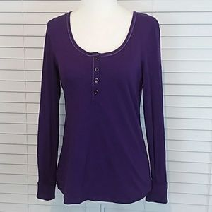 Purple Scoop Neck Long Sleeve Shirt with Buttons